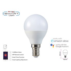 V-TAC Smart Lampada Led Bulb E14 P45 4,5W WiFi RGB CCT Dimmerabile APP Compatible Amazon Alexa Google Home SKU-2756